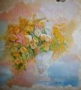 Фрагмент росписи на стене маслом.